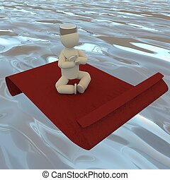 Puppet on a flying carpet