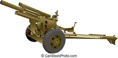 Field Gun - An Army Field Gun isolated on white