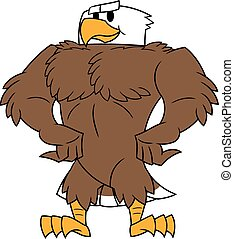 Strong eagle posing - Illustration of the strong eagle...