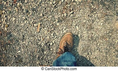 POV Walking On Gravel Path Evening - Looking down at feet...