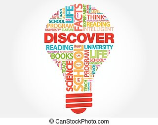 DISCOVER bulb word cloud, business concept