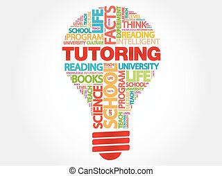 TUTORING bulb word cloud, business concept