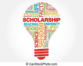 Scholarship bulb word cloud, business concept