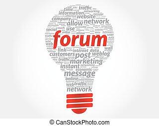 Forum bulb word cloud, business concept