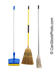 Sponge and string mop and broom on white - Blue and yellow...