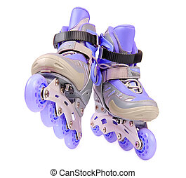 Blue rollerskates isolated on white - Blue children's...