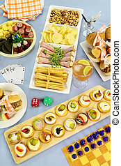 Games Night Food - Selection of finger food laid out for a...