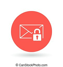 Secure email icon Protected email with padlock sign...