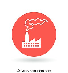 Factory pollution icon Industrial pollution sign Air...