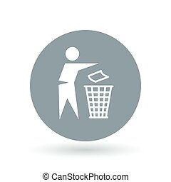 Dispose trash icon. Dispose trash sign. Trash bin symbol. Vector illustration.