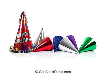 Party hats on a white background