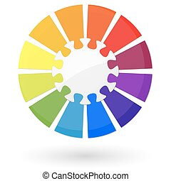 Puzzle info graphic with center part and twelve colored...