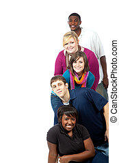 Multi-racial college students on white - A stack of...