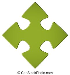 green puzzle piece - simple green puzzle piece for teamwork...