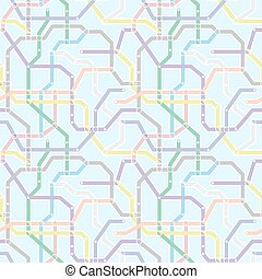 Color metro railway transport scheme on blue background. Abstract seamless vector pattern