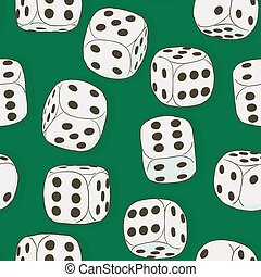 Gray vintage dices on the green background. Seamless original color pattern