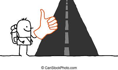 Hitchhiker- vector hand drawn cartoon character