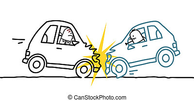 car crash - hand drawn cartoon characters - car crash