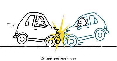 car crash - hand drawn cartoon characters - car crash