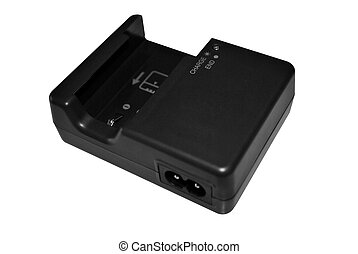 charger - Battery charger with DSLR battery isolated on...