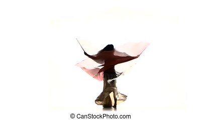 Beautiful slim exotic belly dancer with two wings whirling, shaking her hips, on white, silhouette, shadow