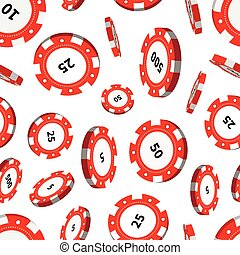 Red casino chips in air on white seamless pattern