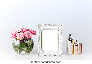 Flowers vase and vintage frame on white - Flowers vase and...