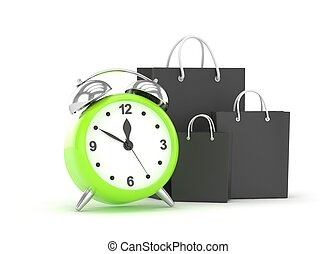 alarm clock and shopping bag (time to buy concept)