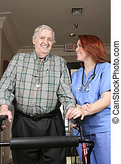 Senior With Nurse - Senior adult with his walker and nurse...