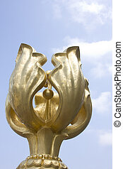 Hong Kong Lankmark,Golden Bauhinia statue with sky...