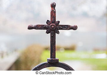 Rustic Fence Cross - Close up of rustic fence cross with...