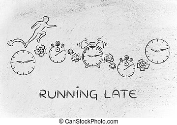 man running on clocks, stopwatches and alarms; running late...