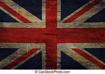Great britain flag  on old wood background