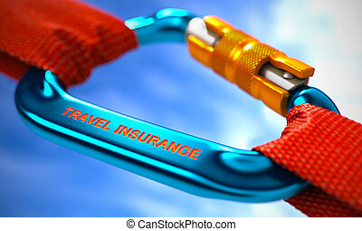 Blue Carabiner Hook with Text Travel Insurance - Red Ropes...