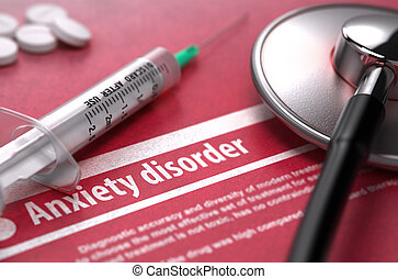 Anxiety disorder. Medical Concept on Red Background.