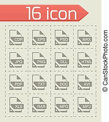Vector File format icon set on grey background