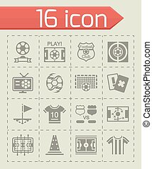 Vector Football icon set on grey background