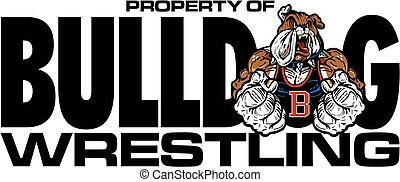 bulldog wrestling design with muscular mascot for school,...