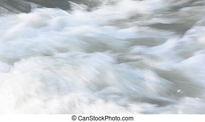Rafting on the river - Detail of water down a river in...
