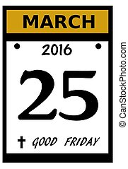 Good Friday calendar date