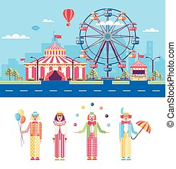 Circus and Clowns - Set stock vector illustration isolated...