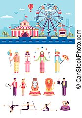 Circus with artists - Set stock vector illustration isolated...