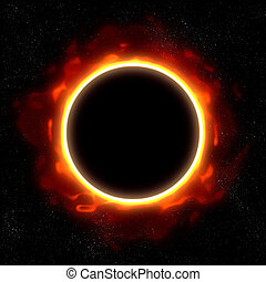 total eclipse in space - illustration of a total eclipse in...