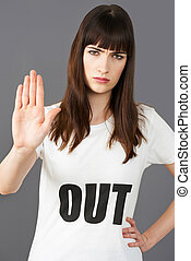 Young Woman Supporter Wearing T Shirt Printed With OUT...
