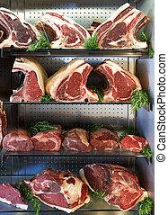 seco, Carniceros, carne, Tienda, viejo, exhibición