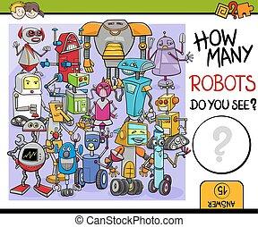 how many robots - Cartoon Illustration of Educational...