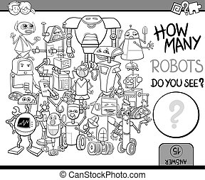 how many robots coloring page - Black and White Cartoon...