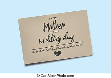 Thank You Card on my Wedding day. - To my mother on my...