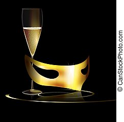 golden mask and drink - carnival golden half mask and glass...