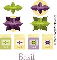 basilico, Icone, set,
